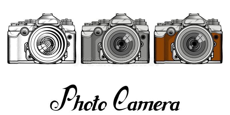 Sistema del logotipo retro de la cámara stock de ilustración