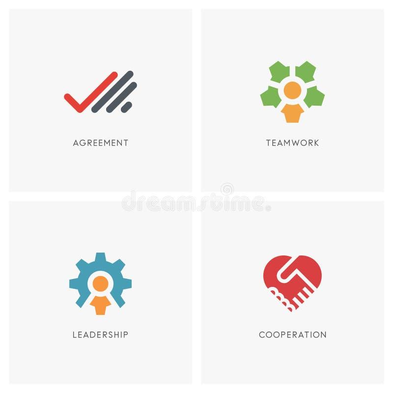 Sistema del logotipo del trabajo en equipo ilustración del vector