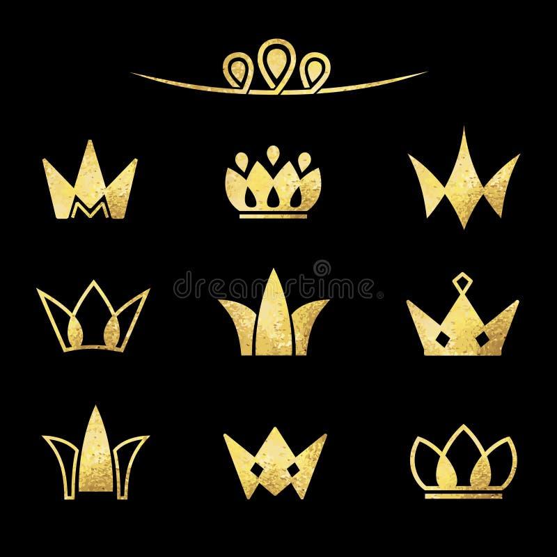 Sistema del logotipo del vector Coronas en una textura de la hoja de oro ilustración del vector