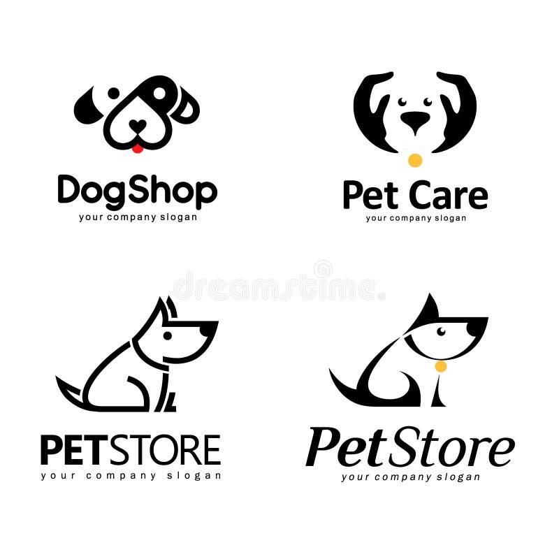 Sistema del logotipo del vector Diseño del logotipo para la tienda del animal doméstico stock de ilustración