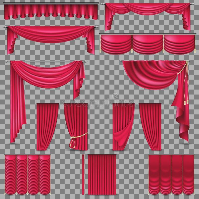 Sistema del lujo de cortinas de oro de la seda del terciopelo EPS 10 libre illustration