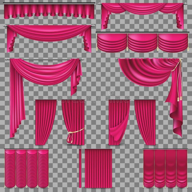 Sistema del lujo de cortinas de oro de la seda del terciopelo EPS 10 ilustración del vector