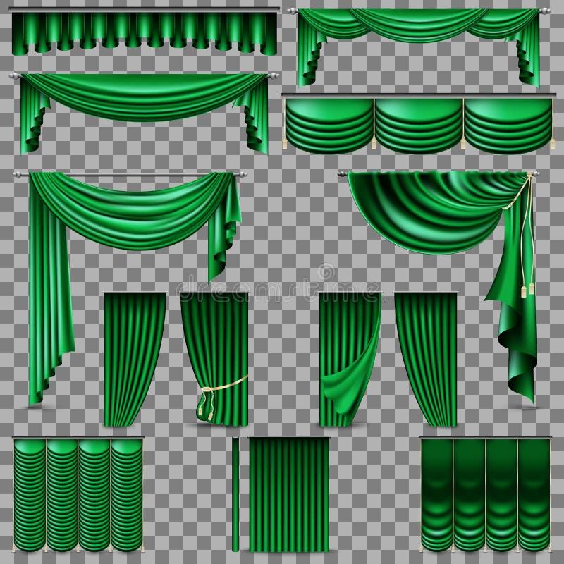 Sistema del lujo de cortinas de oro de la seda del terciopelo EPS 10 stock de ilustración