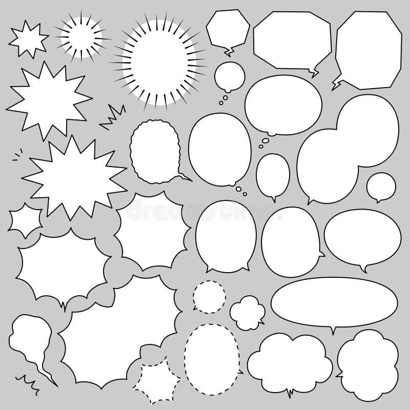 Sistema del manga de las burbujas del discurso stock de ilustración