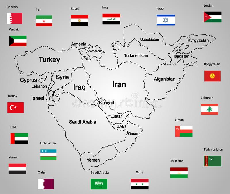 Sistema del mapa de Oriente Medio de estados y de banderas ilustración del vector