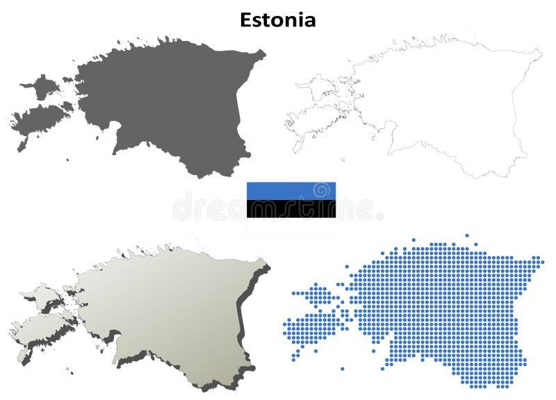 Sistema del mapa del esquema de Estonia stock de ilustración
