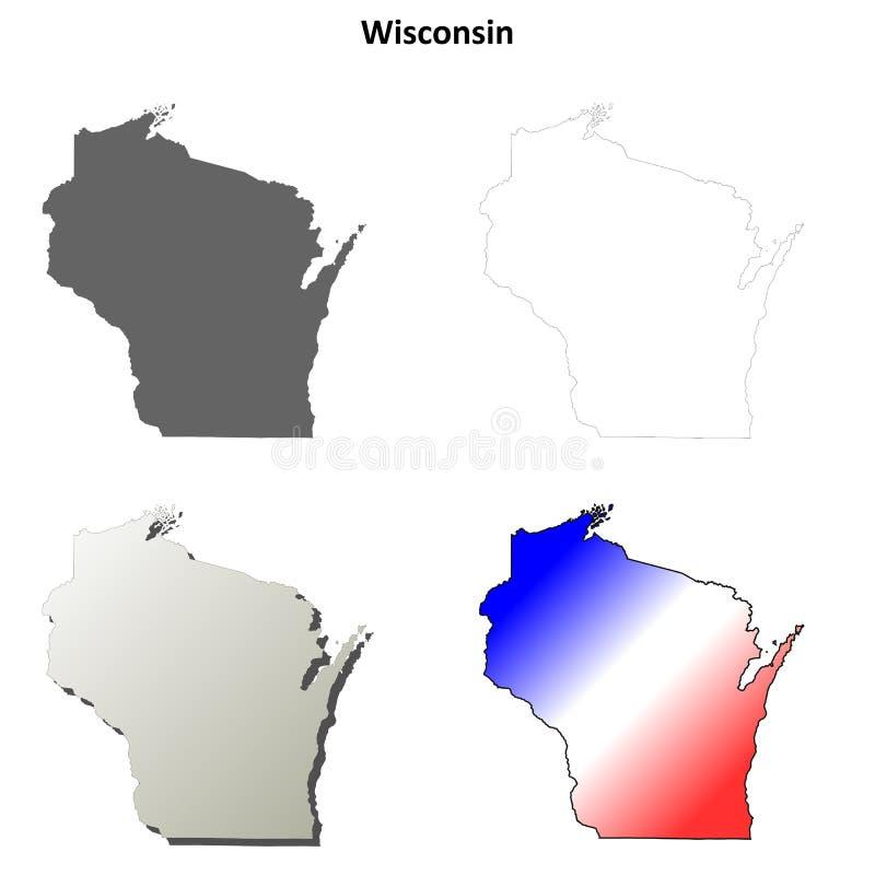 Sistema del mapa del esquema de Wisconsin stock de ilustración