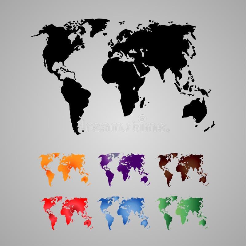 Sistema del mapa del mundo, continentes libre illustration