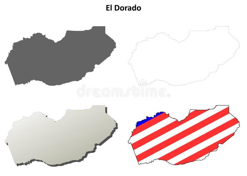 Sistema del mapa del esquema del condado de El Dorado, California ilustración del vector