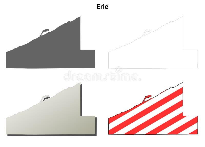 Sistema del mapa del esquema del condado de Erie, Pennsylvania ilustración del vector
