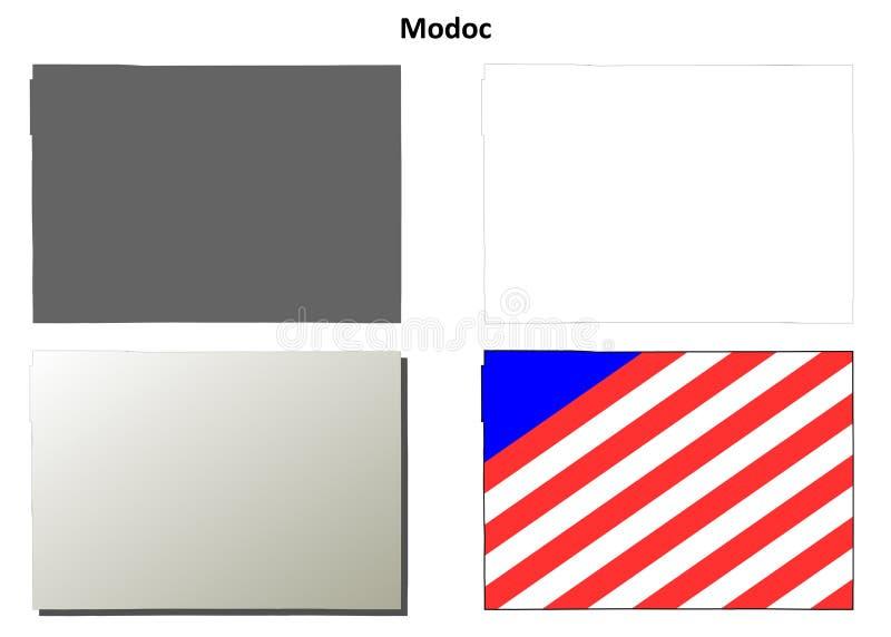 Sistema del mapa del esquema del condado de Modoc, California stock de ilustración
