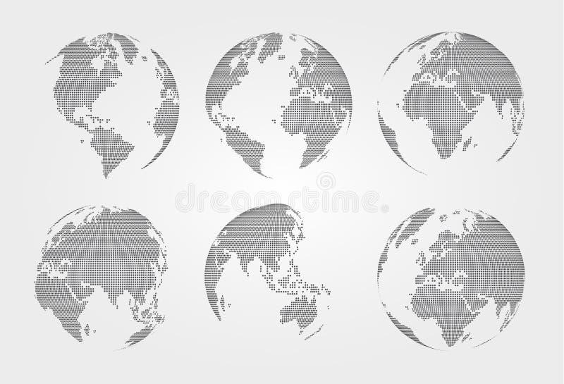 Sistema del mapa del mundo Estilo punteado Vector libre illustration