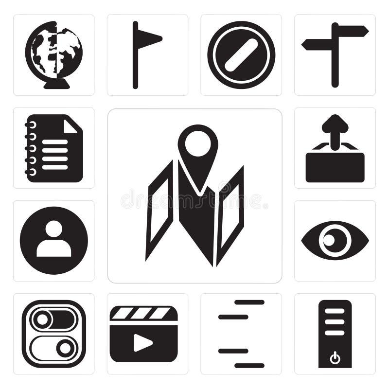 Sistema del mapa, servidor, líneas, vídeo, interruptor, visión, usuario, Upl ilustración del vector