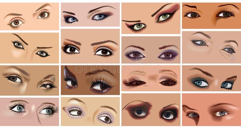 Sistema del maquillaje de los ojos ilustración del vector