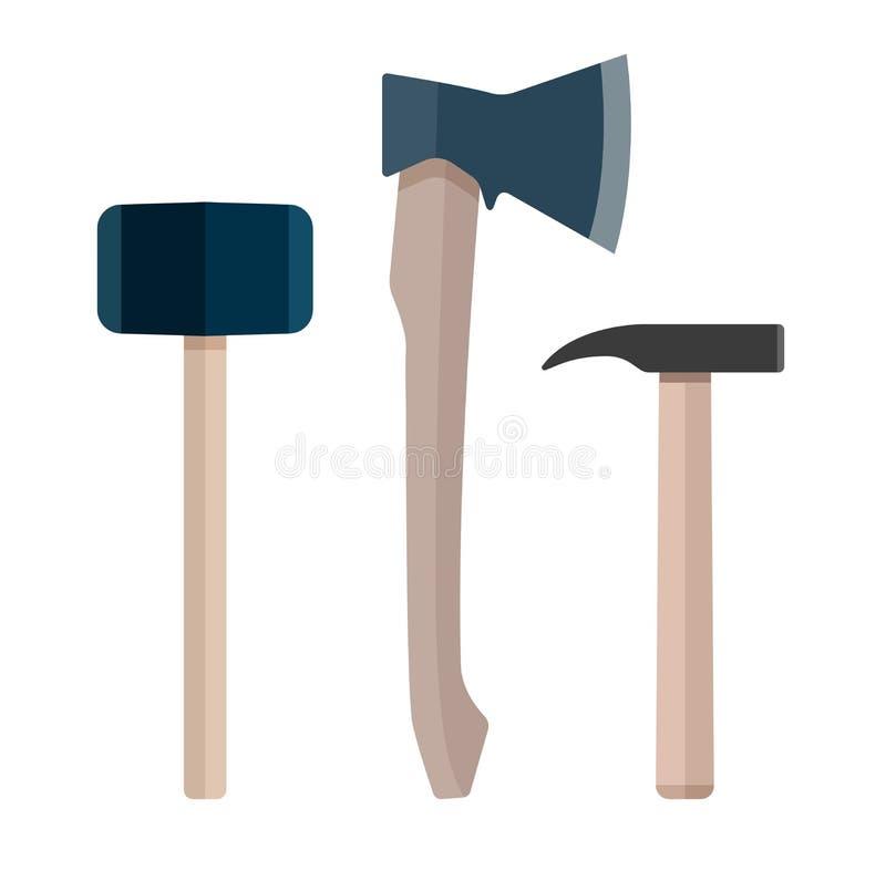 Sistema del martillo del hacha del instrumento plano fotografía de archivo libre de regalías