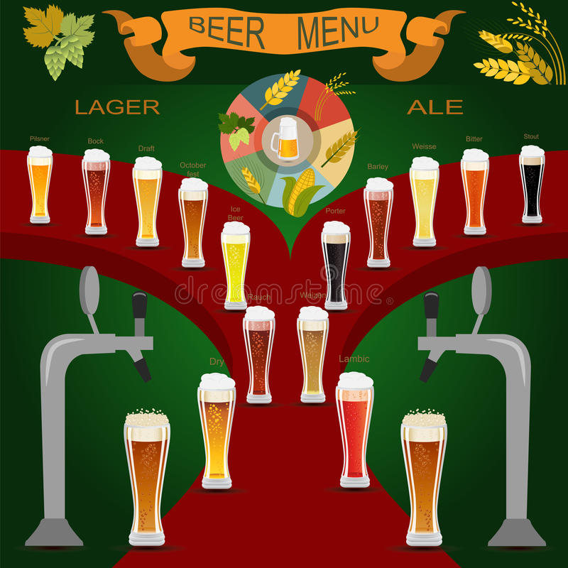 Sistema del menú de la cerveza, creando su propio infographics stock de ilustración