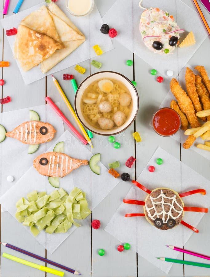 Sistema del menú de la comida del ` s del niño fotos de archivo
