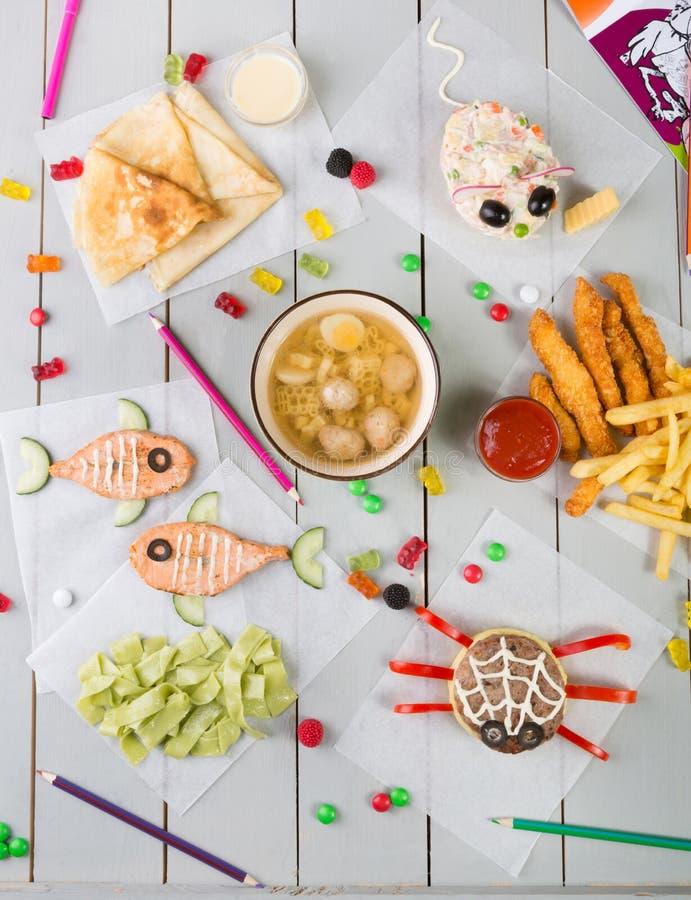 Sistema del menú de la comida del ` s del niño foto de archivo libre de regalías