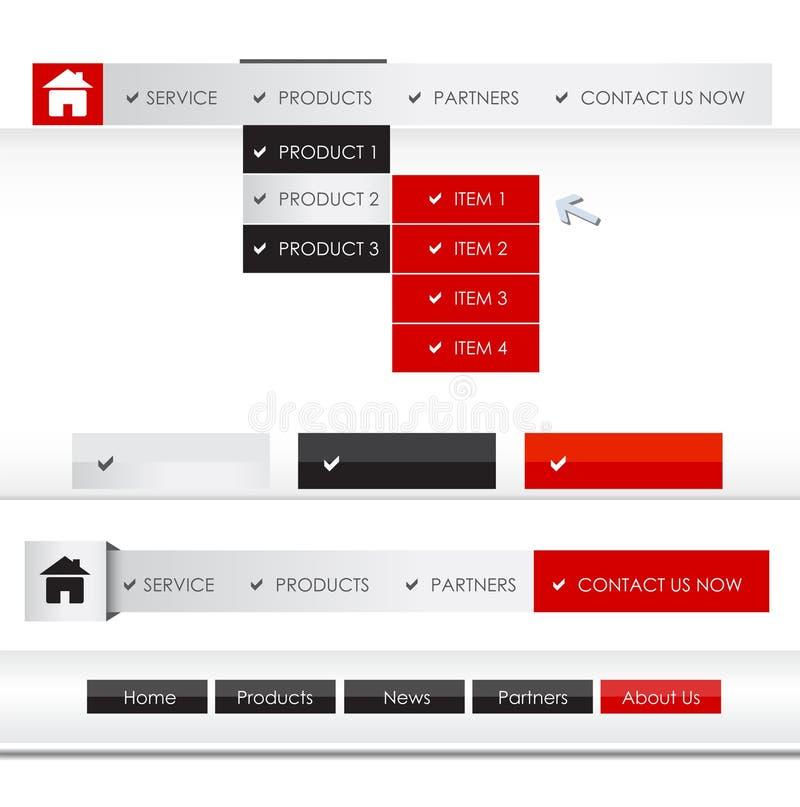 Sistema del menú Sitio Web stock de ilustración