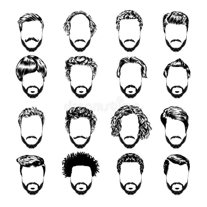 Sistema del men& x27; peinados, barbas y bigote de s Bosquejo a mano Ilustración del vector libre illustration