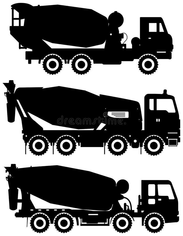 Sistema del mezclador concreto de diversas siluetas Máquinas de la construcción pesada Ilustración del vector libre illustration
