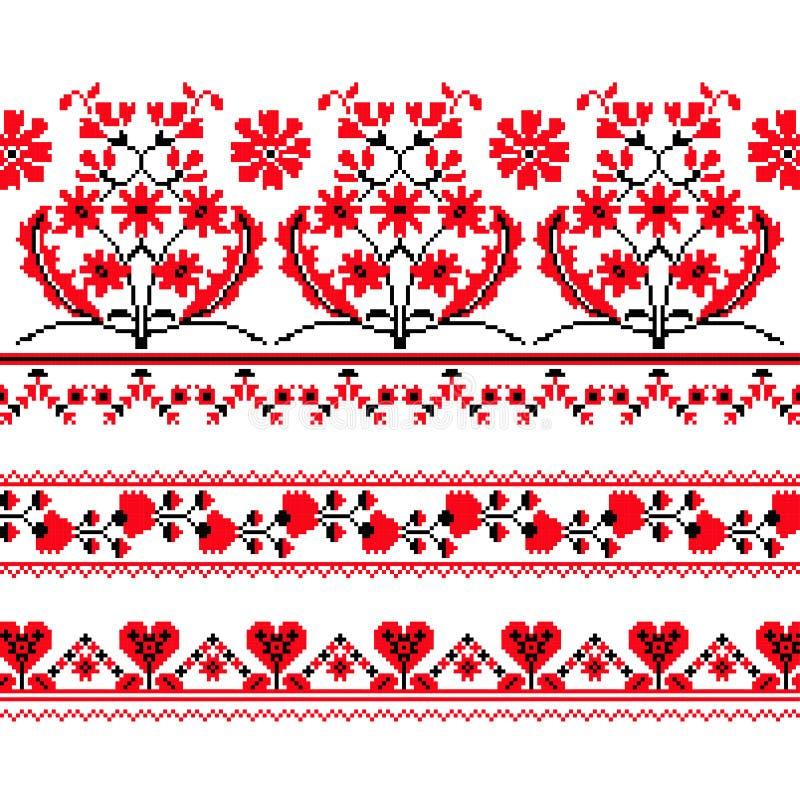 Sistema del modelo étnico del ornamento con la flor cruzada de la puntada libre illustration