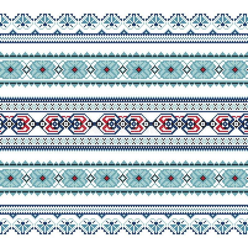 Sistema del modelo étnico del ornamento en colores azules fotos de archivo libres de regalías