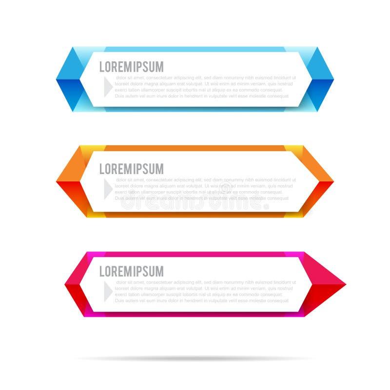 Sistema del modelo colorido del fondo del elemento del polígono de la bandera de la etiqueta ilustración del vector