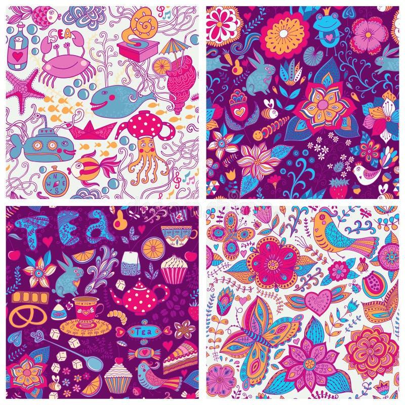 Sistema del modelo floral colorido del vector cuatro Copie cada cuadrado a t stock de ilustración