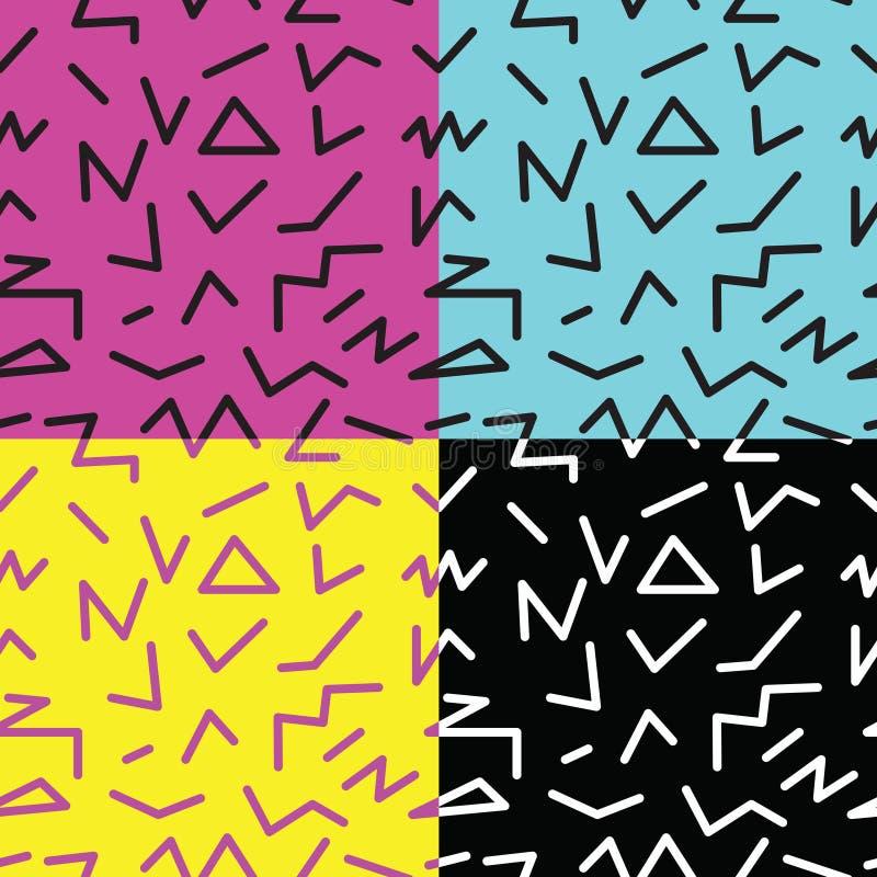 sistema del modelo geométrico abstracto inconsútil en el estilo retro de Memphis libre illustration