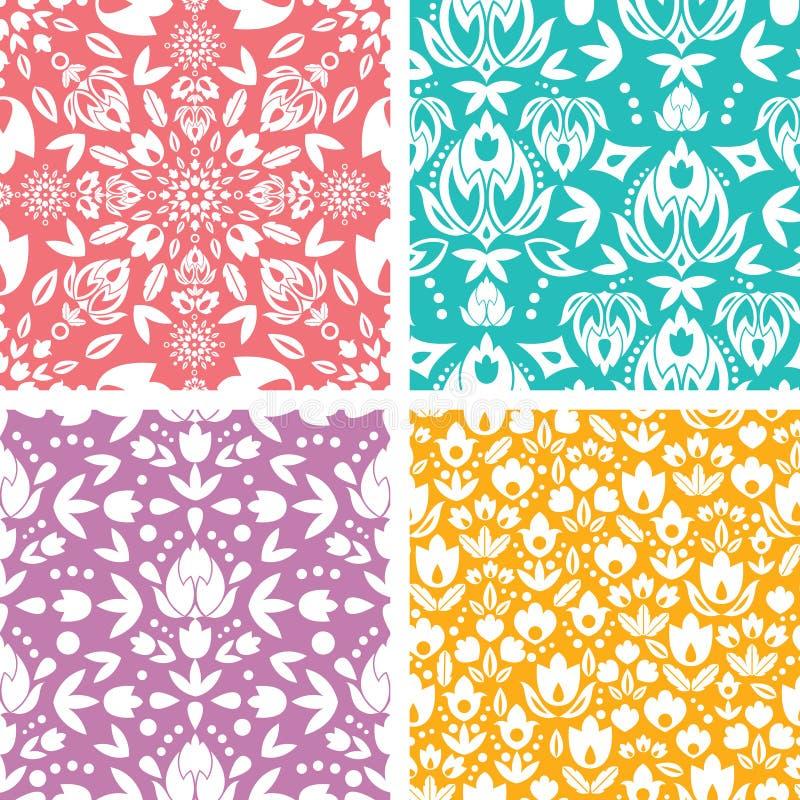 Sistema del modelo inconsútil abstracto floral cuatro ilustración del vector