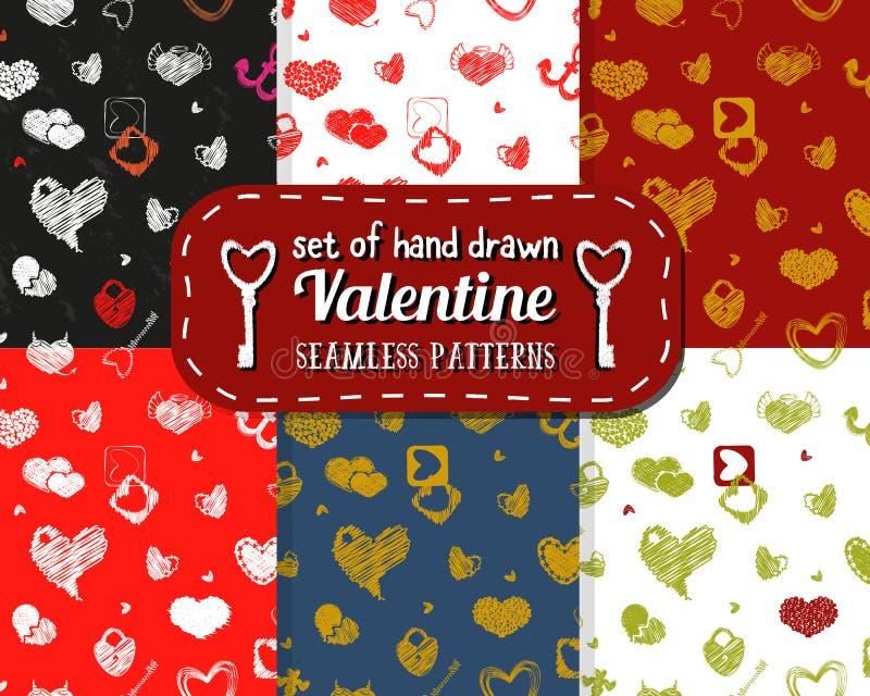 Sistema del modelo inconsútil con los corazones Diseño del día de tarjeta del día de San Valentín del St libre illustration