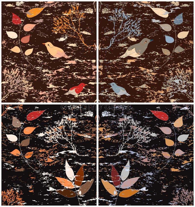 Sistema del modelo inconsútil cuatro con paisaje estilizado con los árboles, hojas, pájaros ilustración del vector