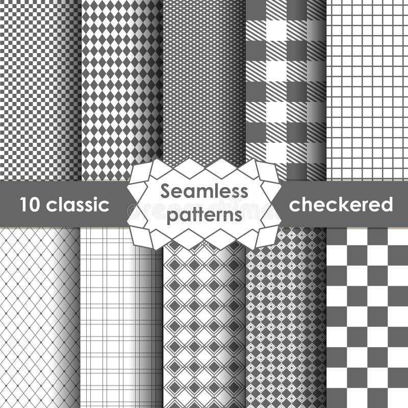 Sistema del modelo inconsútil de la tela simple a cuadros en gris y blanco ilustración del vector