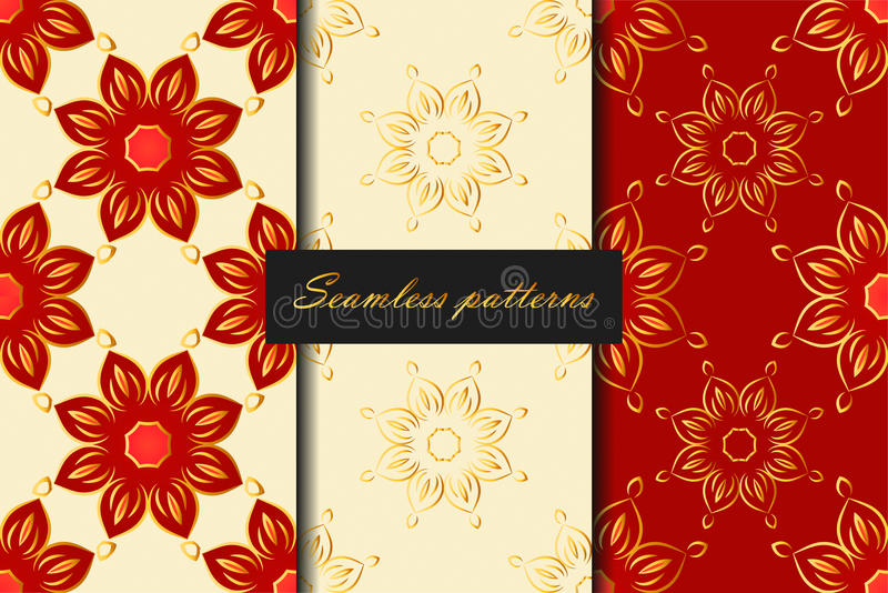 Sistema del modelo inconsútil tres con las flores en rojo, blanco y colores oro Fondo del vector stock de ilustración