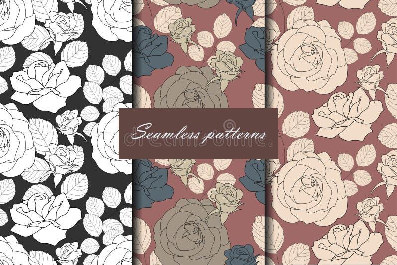 Sistema del modelo inconsútil tres con las rosas en los colores hermosos del vintage para su diseño Fondo del vector stock de ilustración