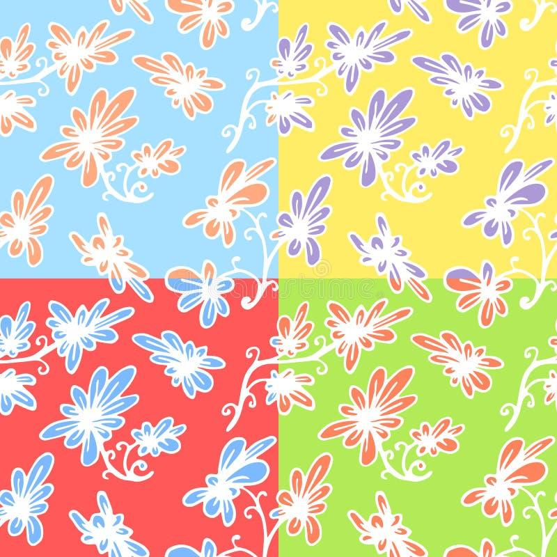 Sistema del modelo a mano floral inconsútil cuatro stock de ilustración