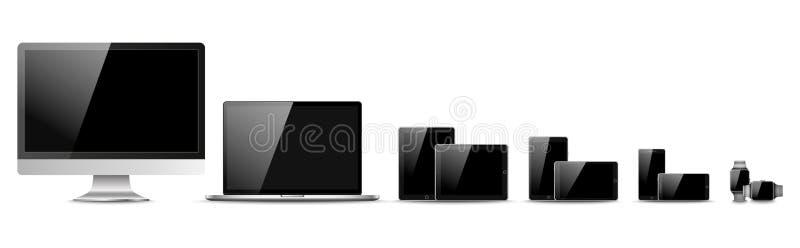 Sistema del monitor de computadora realista, del ordenador portátil, de la tableta y del teléfono móvil con la pantalla vacía Div stock de ilustración