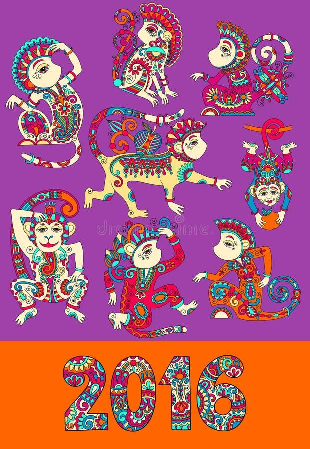 Sistema del mono decorativo de diversos colores - libre illustration