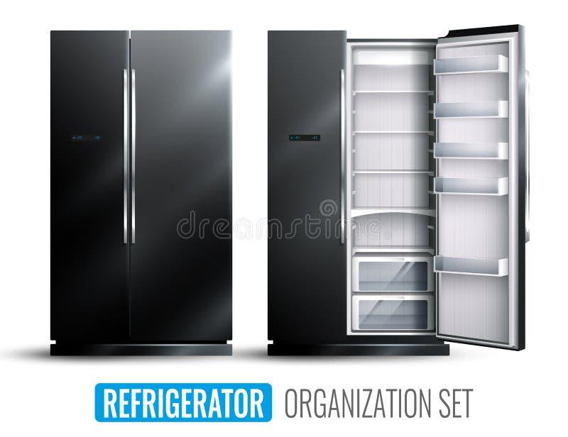 Sistema del monocromo de la organización del refrigerador ilustración del vector