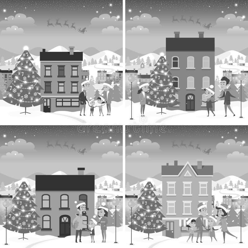 Sistema del monocromo del frente feliz de las familias de casas stock de ilustración