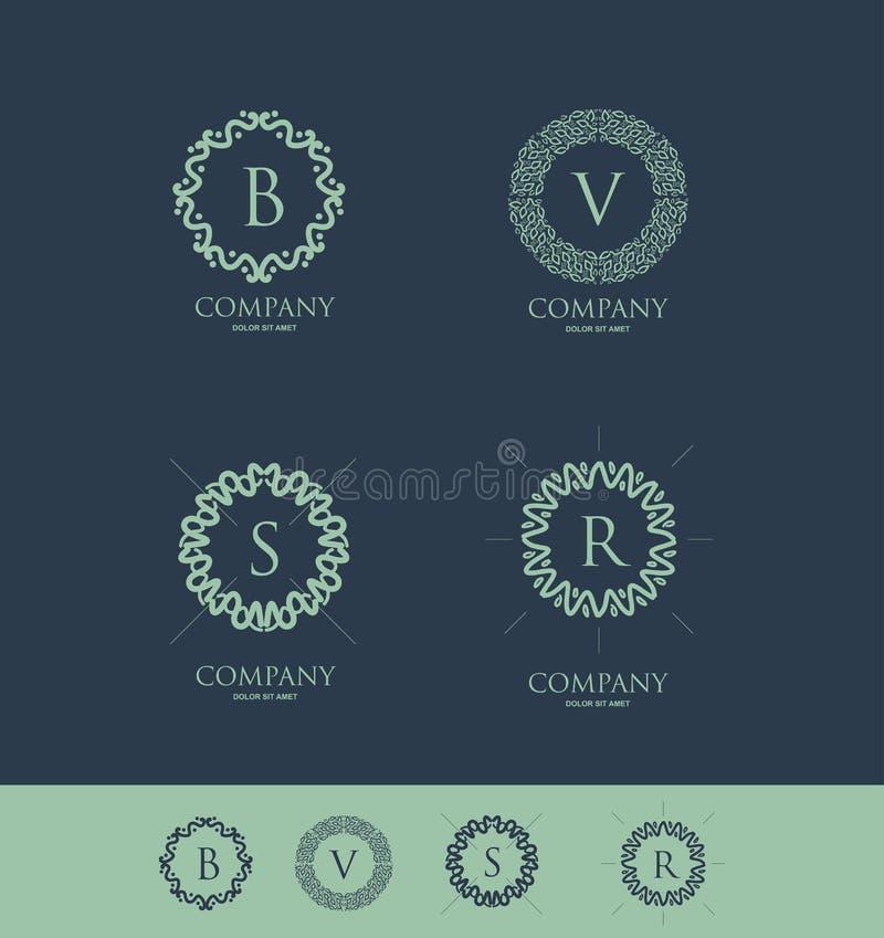 Sistema del monograma de la letra del alfabeto stock de ilustración