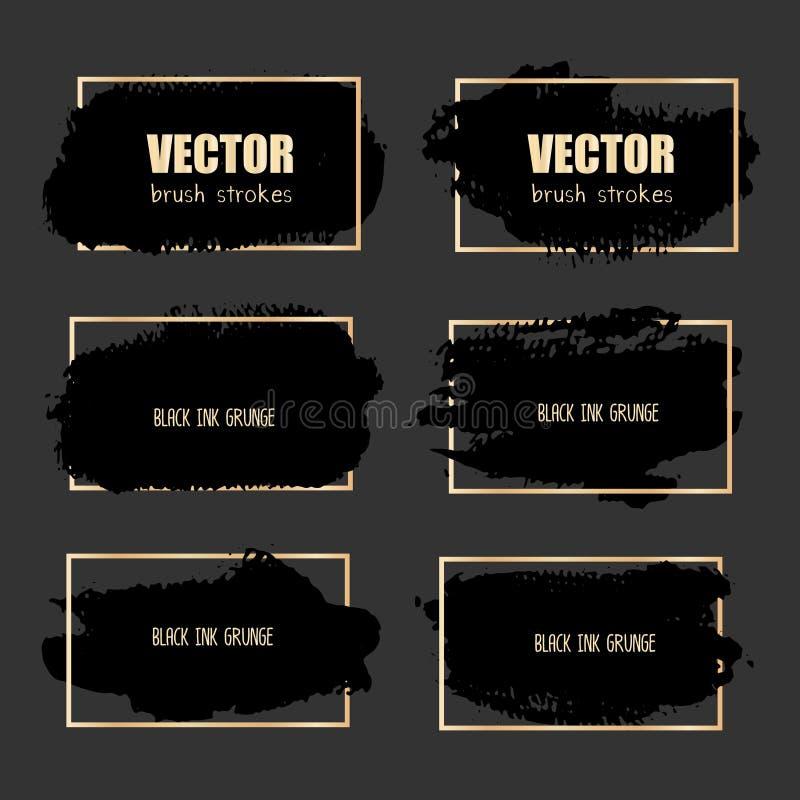 Sistema del movimiento del cepillo, movimientos negros del cepillo del grunge de la tinta ilustración del vector
