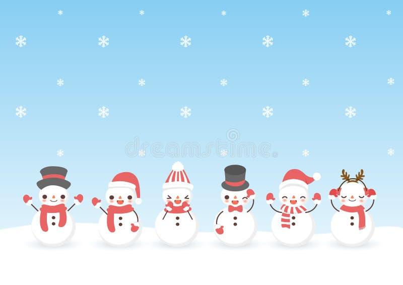 Sistema del muñeco de nieve lindo de la historieta del carácter stock de ilustración