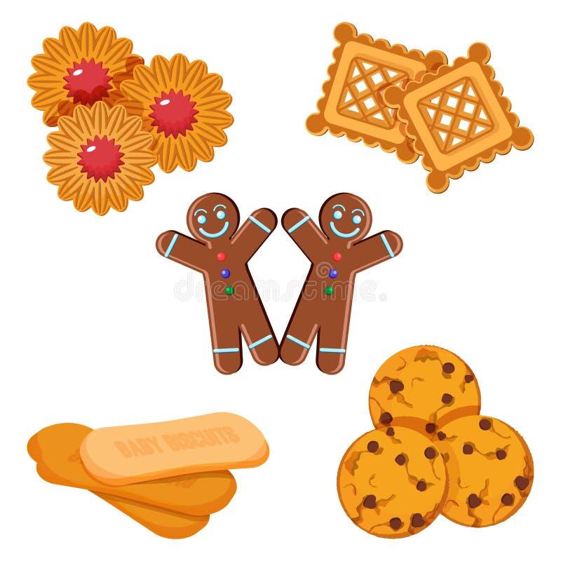 Sistema del muchacho del pan de jengibre de las galletas del vector, confitería con vector de la jalea libre illustration