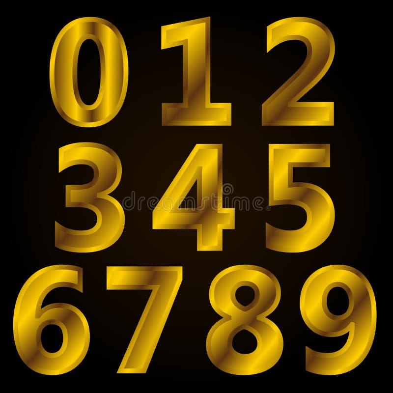 Sistema del número con estilo de oro ilustración del vector