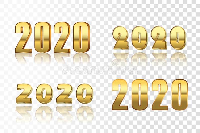 Sistema del número de la Feliz Año Nuevo El oro 3D número 2020 aisló el fondo transparente blanco Tarjeta de felicitación de oro  ilustración del vector
