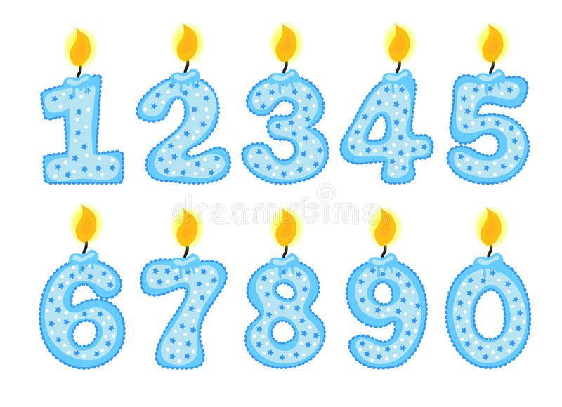 Sistema del número de la vela, ejemplo de las velas del cumpleaños en un fondo blanco, stock de ilustración