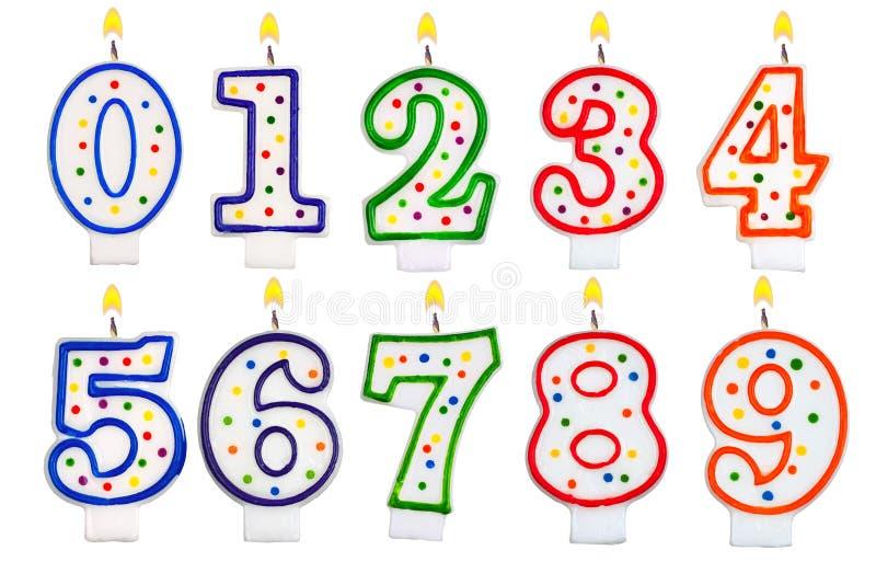 Sistema del número de las velas del cumpleaños aislado en blanco imagen de archivo