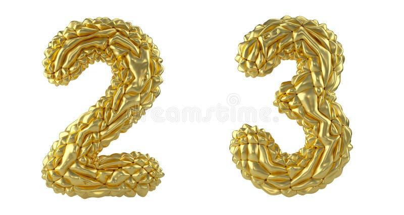 Sistema 2, 3 del número hechos de hoja arrugada S?mbolos de la colecci?n de la hoja de oro arrugada aislada en el fondo blanco stock de ilustración